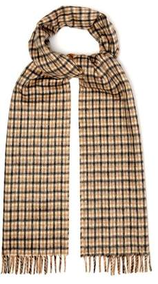 Prada - Reversible Checked Silk And Cashmere Blend Scarf - Mens - Camel