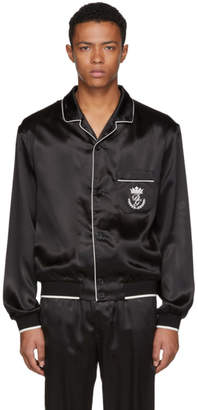 Dolce & Gabbana Black Silk Pyjama Shirt