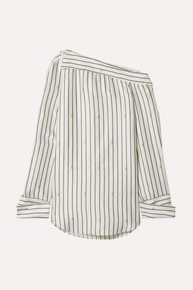 Monse Oversized One-shoulder Pinstriped Satin Shirt - Ivory