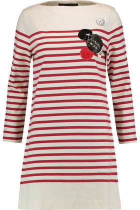 Marc by Marc Jacobs Appliquéd Striped Cotton Mini Dress
