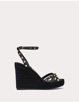 Valentino Rockstud Calfskin Ankle Strap Wedge Sandal 95 Mm