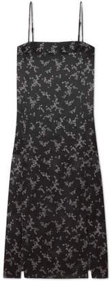 Equipment Kelby Floral-print Silk-satin Dress - Black