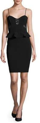 Parker Sachi Lace-Trim Peplum Dress $325 thestylecure.com
