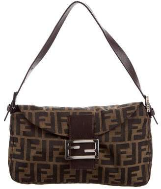 Fendi Leather-Trimmed Zucca Baguette