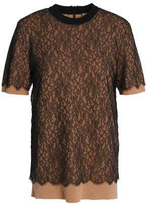 Michael Kors Layered Lace And Cashmere-Blend Top