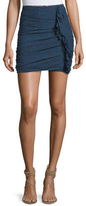 Etoile Isabel Marant Jipson High-Waist Ruched Printed Mini Skirt