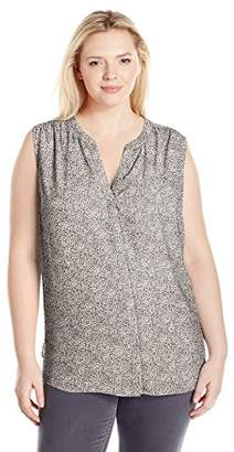 NYDJ Women's Plus Size Sleeveless Pintuck Blouse