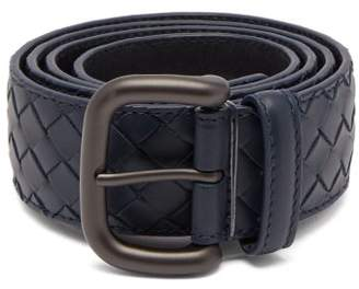 Bottega Veneta Intrecciato Leather 4cm Belt - Mens - Navy