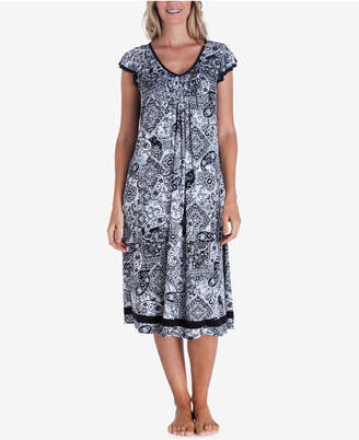 Ellen Tracy Printed Knit Ballet-Length Nightgown