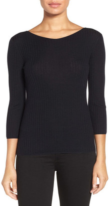 Classiques Entier Button Back Ribbed Merino Wool Sweater $169 thestylecure.com