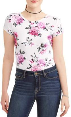 Eye Candy Juniors' Floral Printed Cap Sleeve T-Strap Back T-Shirt