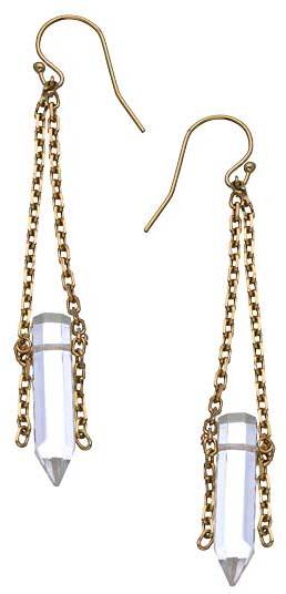 Liz Larios Clear Quartz Prism Chain Drop Earrings