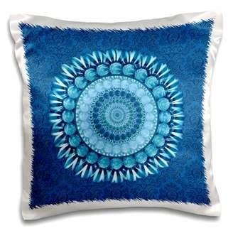 3dRose Cobalt blue floral mandala on bright blue damask background - Pillow Case, 16 by 16-inch