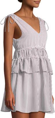 Line And Dot Ilayda Striped Tie-Shoulder Mini Dress