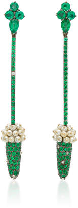 Arunashi One-Of-A-Kind Emerald And Basra Pearl Earrings