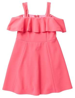 Love, Nickie Lew Ruffle Front Scuba Dress (Little Girls)