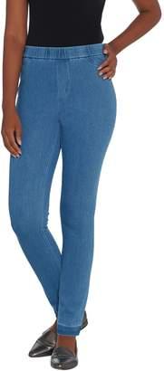 Isaac Mizrahi Live! Tall Knit Denim Slim Leg Jeans with Let Down Hem