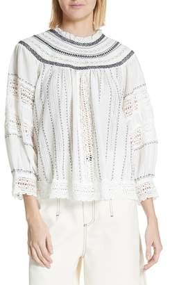 Sea Louisa Crochet Peasant Top
