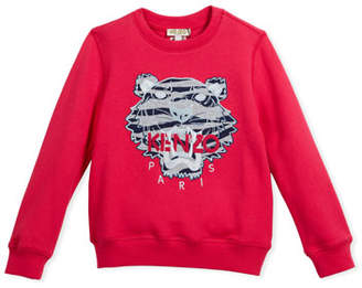 Kenzo Pullover Sweatshirt w/ Striped Tiger Face, Pink, Size 4-6