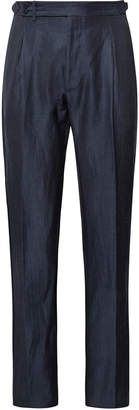 Zanella Nico Tapered Pleated Virgin Wool and Linen-Blend Trousers - Men - Blue
