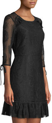 Moon River Lace-Sleeve Tie-Back Dress