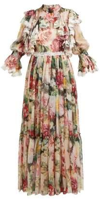 Dolce & Gabbana Floral Print Ruffled Silk Blend Chiffon Gown - Womens - White Multi