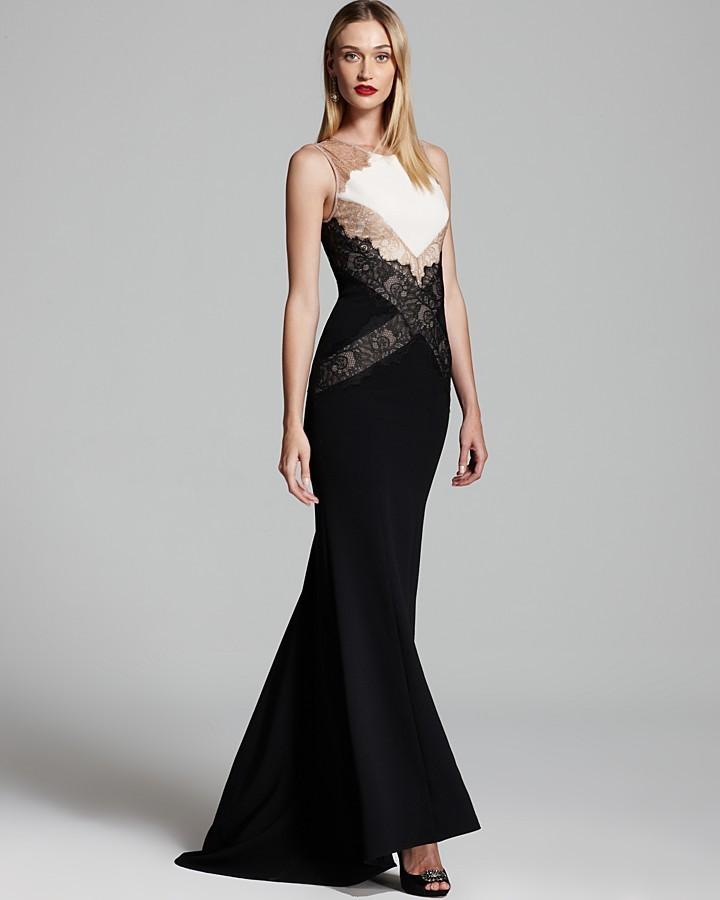 BCBGMAXAZRIA Lace Color Block Gown - Sleeveless