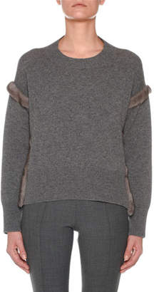 Agnona Cashmere Sweater with Mink Fur Ribbon Details, Gray
