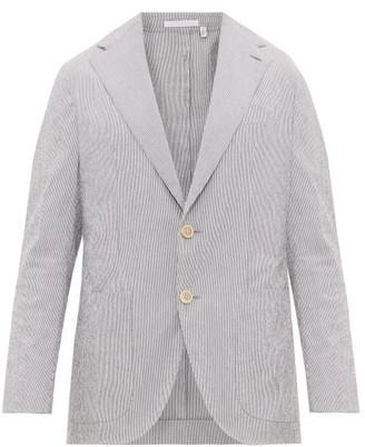 Odyssee - Pierre Single Breasted Striped Cotton Blend Blazer - Mens - Blue Multi