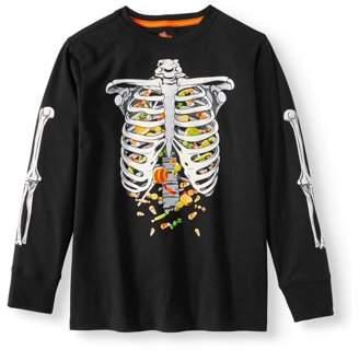HALLOWEEN Boys Halloween Long Sleeve Glow in The Dark Graphic Tee Shirt