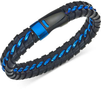 Macy's Esquire Men's Jewelry Woven Leather Bracelet in Black & Blue Ion-Plated Stainless Steel, Created for