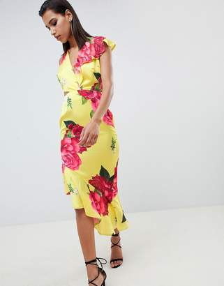 28b32f49d7 Asos Design DESIGN Plunge And Cut Out Midi Dress In Bright Floral Print