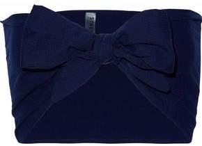 Solid & Striped Tie-Front Cotton-Seersucker Bandeau Top