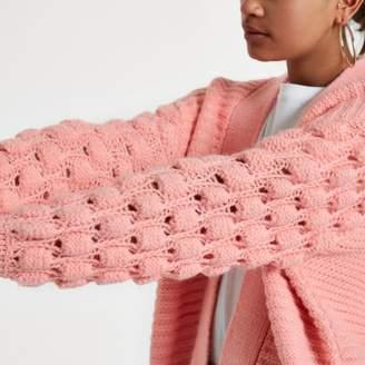 River Island Light pink bobble heart knit cardigan