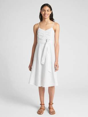 Gap Fit and Flare Cami Dress in Linen-Cotton