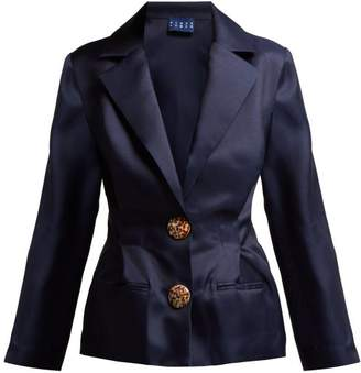 Albus Lumen - Lujo Pleated Silk Organza Blazer - Womens - Navy
