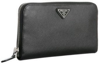 Prada black saffiano leather zip continental wallet