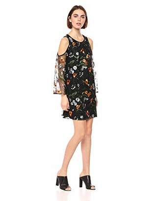 ECI New York Women's Cold Shoulder All Over Floral Embroidered Mesh Shift Dress