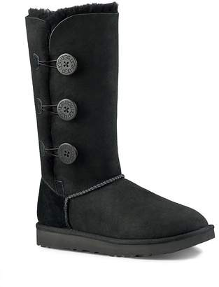 Womens Ladies Real Sheepskin Leather 3 Bailey Button Mid Calf Boots Shoes Size 5