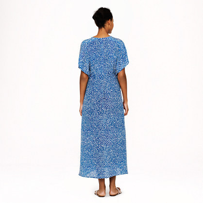 J.Crew Silk maxi tunic in abstract diamond