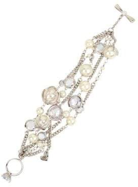 Betsey Johnson Crystal & Faux Pearl Multi-Row Toggle Bracelet