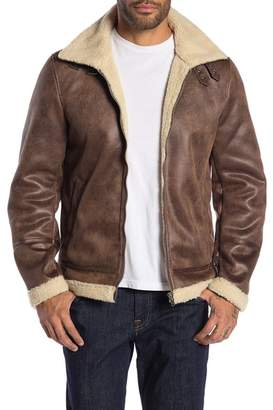 Slate & Stone Faux Leather Faux Fur Buckled Neck Jacket