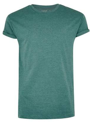 Topman Mens Green Muscle Fit Rolled Sleeve T-Shirt