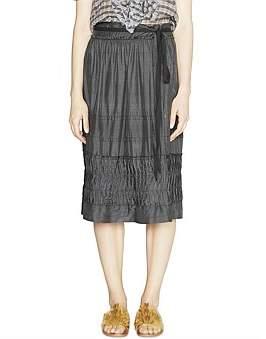 Lee Mathews Audrey Silk Skirt W/Pleated Hem