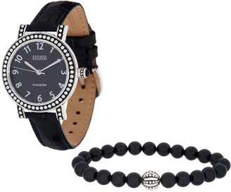 Ecclissi Gemstone Leather Watch w/ Stretch Bracelet