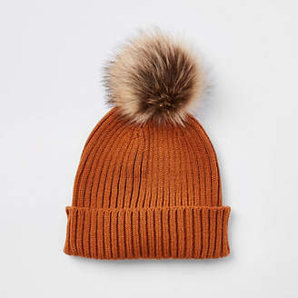 River Island Boys rust faux fur bobble beanie hat