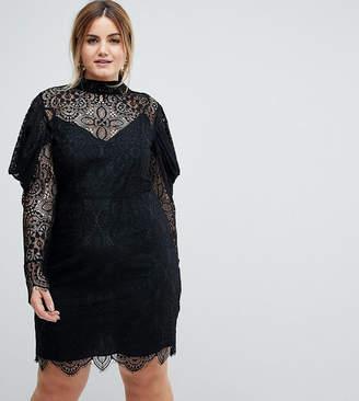 Asos Lace Drape Sleeve Mini Dress