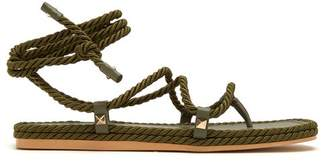 Valentino Torchon Satin Rope Wraparound Sandals - Womens - Khaki