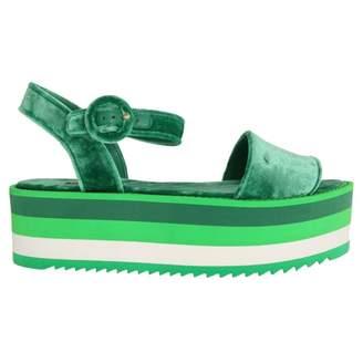 Dolce & Gabbana Green Velvet Sandals