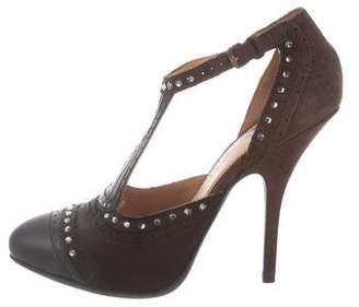 Lanvin Embellished Ankle Strap Pumps